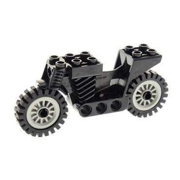 1 x Lego brick black Motorcycle 4 Juniors Chassis 2 x 8 x 3 with light gray Wheel Spoked 2 x 2 with Pin Hole, with Black Tire Offset Tread (30155 / 3483) 30155c01 45950