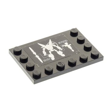 1 x Lego System Bau Platte schwarz 4 x 6 Fliese mit Noppen am Rand 4x6 Sticker Exo Force Roboter Set 7709 6180pb056