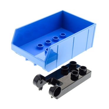 1 x Lego brick 	dark azur Duplo Tipper Bucket Bed with Lip and 2 x 4 Studs / black Duplo, Plate 2 x 3 with 4 Studs and Hinge 13355 13607