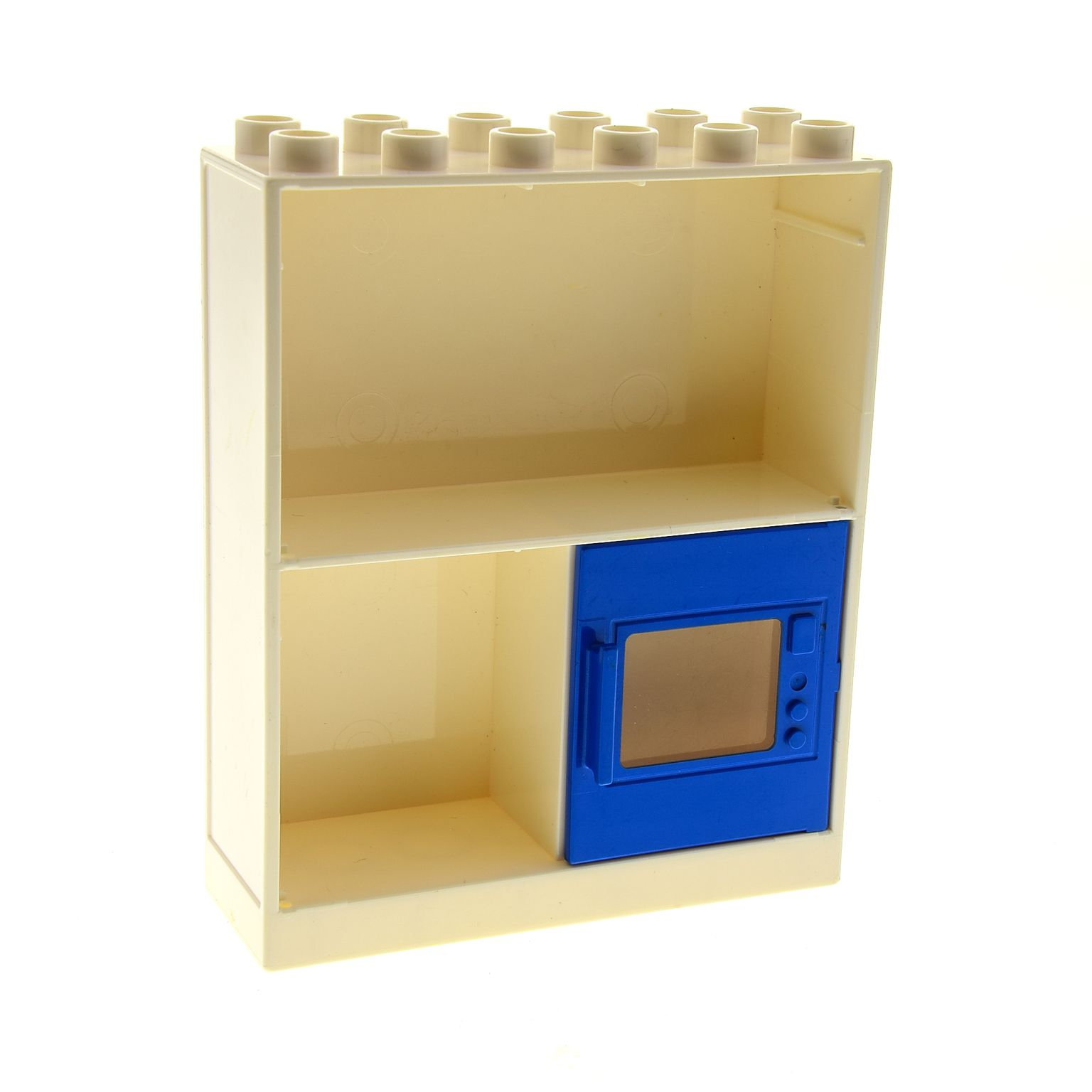 1 x lego duplo m bel schrank regal wand creme weiss 2x6x6 mit 3 f chern mit ofen t r blau. Black Bedroom Furniture Sets. Home Design Ideas