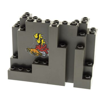 1 x Lego brick dark gray Rock Panel 4 x 10 x 6 Rectangular (BURP) with Fish and Crab Pattern (Stickers) Typ2 6559 6558 6082pb03*