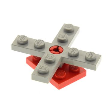 1 x Lego brick Light Gray Propeller 4 Blade 5 Diameter with Hole for Rotor Holder with red Plate, Modified 2 x 3 with Helicopter Rotor Holder  3462 3461