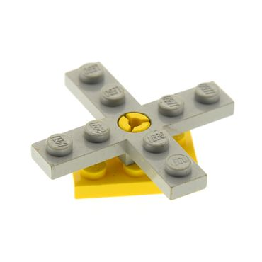 1 x Lego brick Light Gray Propeller 4 Blade 5 Diameter with Hole for Rotor Holder with yellow Plate, Modified 2 x 3 with Helicopter Rotor Holder  3462 3461