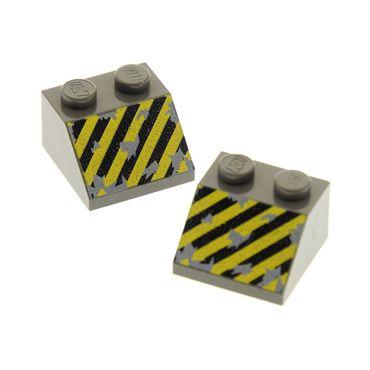 2 x Lego System Dachstein alt-dunkel grau 45° 2x2 bedruckt Gefahren Streifen schräg Steine für Set Rock Raiders 4990 4940 3039px16