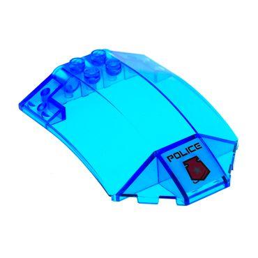 1 x Lego System Windschutzscheibe transparent dunkel blau 8x6x2 windscreen Sticker Police Cockpit Kanzel Kuppel Fenster Set 5974 5980 x224pb009