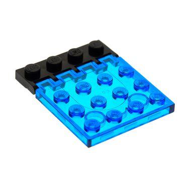 1 x Lego System Bau Platte Transparent dunkel blau 4x4 Klappe mit Scharnier schwarz Auto Dach Classic Space Set 6171 4315 4213