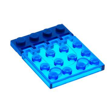 1 x Lego System Bau Platte Transparent dunkel blau 4x4 Klappe mit Scharnier blau Auto Dach Fenster Classic Space Set 6171 4315 4213