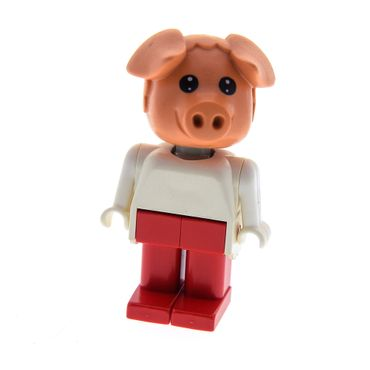 1 x Lego System Fabuland Figur Tier Schwein 6 rosa the Pig Peter Torso weiss Beine rot 3703 fab11f