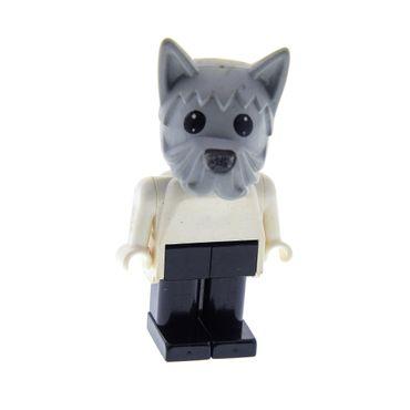 1 x Lego Fabuland Figur Tier Hund Dog Doc David alt-hell grau Torso weiss Beine schwarz 137 347 3672 Fab4g