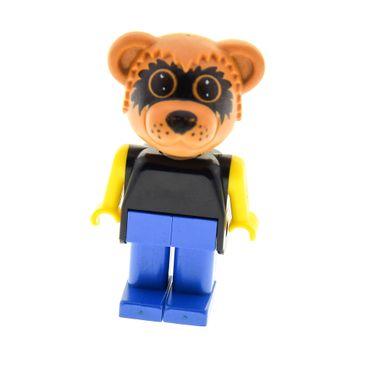 1 x Lego System Fabuland Figur Tier Waschbär 3 Bär Raccoon Ricky dunkel orange Torso schwarz Beine blau Brille gross 3605 324 fab12d