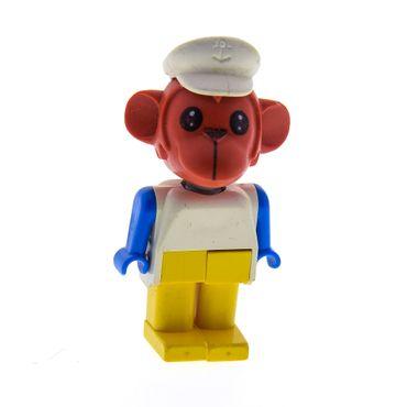 1 x Lego Fabuland Figur Tier Affe rost rot braun Monkey 6 Maurer Oscar Orang-Utan Torso weiss Beine gelb mit Hut 3714 fab8i