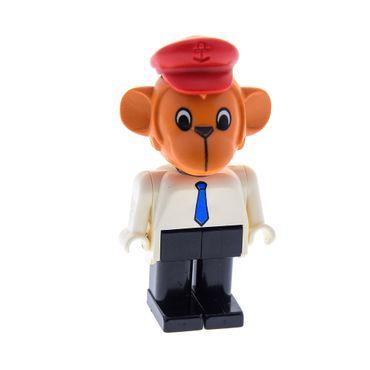1 x Lego Fabuland Figur Tier Affe dunkel orange Monkey 1 Mike Torso weiss Krawatte Beine schwarz mit Hut rot 3662 fab8b