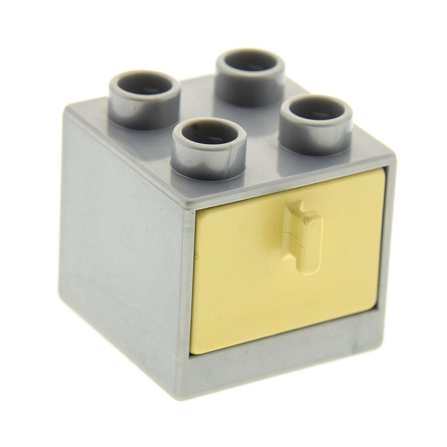 1 x Lego Duplo Möbel Schrank perl-silber grau 2x2x1.5 Kommode mit ...