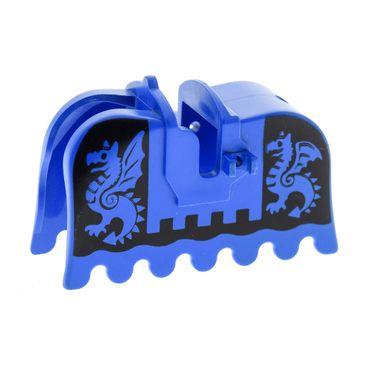 1 x Lego System Pferdedecke blau schwarz bedruckt Drachen Schabracke König Castle Ritter Pferde Decke Burg 6086 6085 1584 6060 2490px2