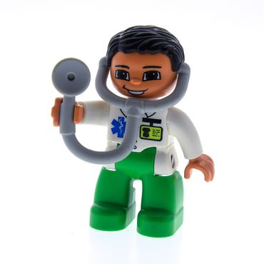 1 x Lego brick Duplo Figure Lego Ville Male Medic Bright Green Legs White Top with ID Badge and EMT Star of Life Pattern Attached Stethoscope Set 6158 5795 5695 47394pb143