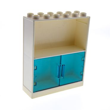 1 x Lego brick cream White Duplo Building Wall 2 x 6 x 6 with 3 Cupboards / trans-light blue Duplo Furniture Cabinet Door 3 x 3.5 with Hinge Holes 6469a 4255558 6461