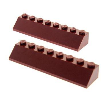 2 x Lego System Dachstein dunkel rot 45° 2x8 Dachziegel schräg Stein 4445