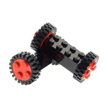 2 x Lego System Achse old 2x4 mit Rad Räder Felge rot 4 Noppen Reifen mit Profil rot schwarz für Auto Anhänger (7039 / 3483) 7049b 7039c03