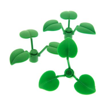 3 x Lego brick green Plant Flower Stem 1 x 1 x 2/3 with 3 Large Leaves 21303 4754 4738 70618 x8 6255