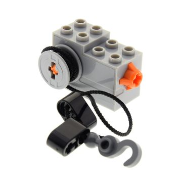 1 x Lego brick light bluish gray Windup Motor 2 x 4 x 2 1/3 with Orange Release Button with rope 7738 4995 61100c01