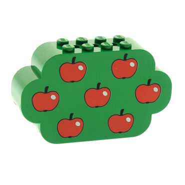 1 x Lego brick green Brick, Modified 2 x 8 x 4 Triple Curved Ends with 7 Apples Pattern 6214px2