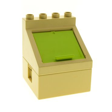 1 x Lego Duplo Abfall Box Container beige tan 4x4 Klappe lime grün Müll Tonne Kiste Ober Unter Teil für Set 3294 Bob der Baumeister 6469 52064 47423