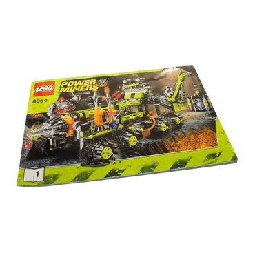 1 x Lego System Bauanleitung A4 Buch 1 Power Miners Mobile Bohrstation Fahrzeug Titanium Command 8964