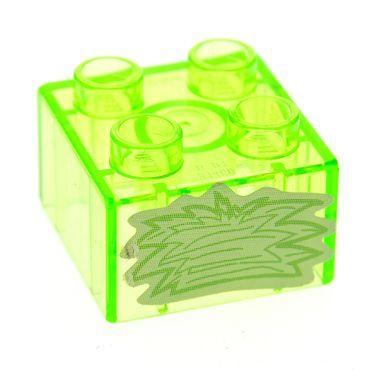 1 x Lego Duplo Bau Stein 2x2 transparent bright hell grün mit Sticker Heu Gras Glassteine für Zoo Prinzessin Schloss 4821 3437pb041