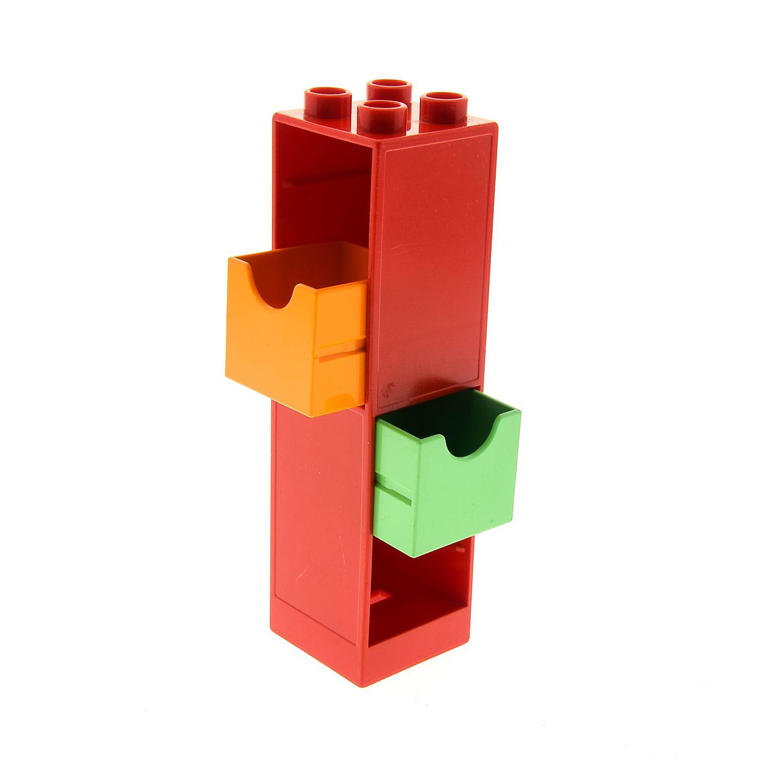 1 x lego duplo m bel regal rot 2x2x6 schrank s ule mit 2x. Black Bedroom Furniture Sets. Home Design Ideas