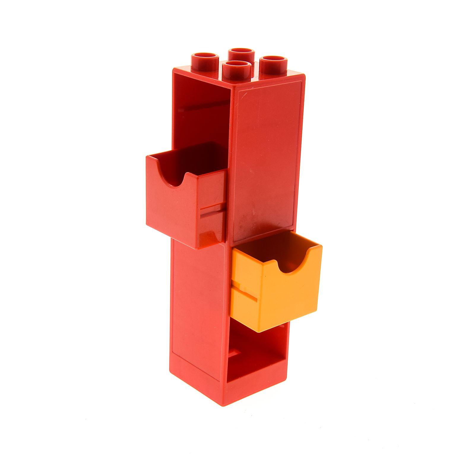 1 x Lego Duplo Möbel Regal rot 2x2x6 Schrank Säule mit 2x Schublade ...