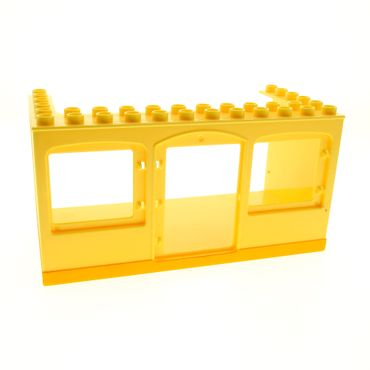 1 x Lego brick Bright Light Yellow Duplo Building 6 x 12 x 5 with Center Door Opening and Two Window Openings with Bright Light Orange Bottom Pattern Set 3296 52072pb01