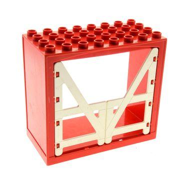 1 x Lego Duplo Gebäude Scheune B-Ware abgenutzt rot weiss 4x8x6 schmal Haus Tür Tor Gatter Puppenhaus Bauernhof Farm 2294 6432