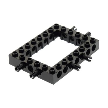 1 x Lego brick black Technic Brick 6 x 8 Open Center with 2 Fixed Rotatable Friction Pins on 3 Sides 7244 40345c01