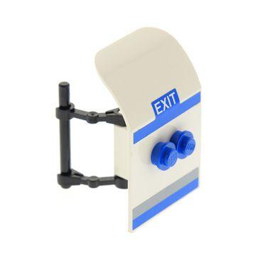 1 x Lego System City Passagier Flugzeug Tür weiss 2x4x6 mit Tür Scharnier schwarz Tür Griff blau und Sticker für Set 7893 54097