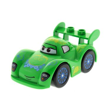 1 x Lego brick bright green Duplo Cars Sports Car (Carla Veloso Pattern) Complete Assembly 5819 6021134 6021141 88760 95207pb02c01