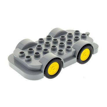1 x Lego Duplo Auto Fahrgestell neu-hell grau 4x8 Wagen Räder gelb Set 10584 10880 6056593 15314c01