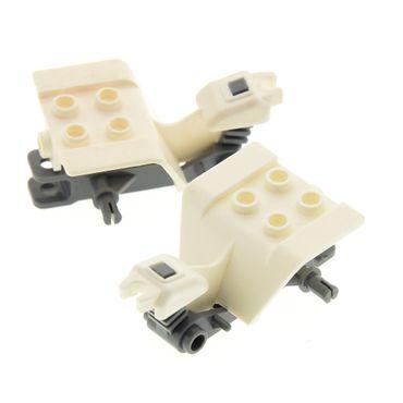 2 x Lego System Motorrad Trike Body weiss neu-dunkel grau Chassis Bike Tricycle  30187b