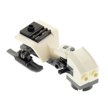 1 x Lego brick white Tricycle Body Top with Dark bluish Gray Chassis with Dark Bluish Gray Minifig, Utensil Ski with Hinge 6120 30187b