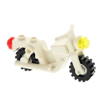 1 x Lego brick cream white Motorcycle Old with Trans-Clear Wheels - Complete Assembly x81c02