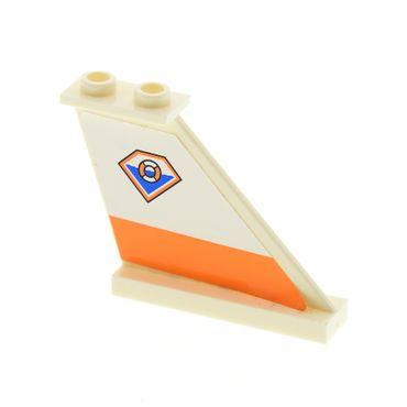 1 x Lego System Heck Flosse rechts weiss 4x1x3 Leitwerk Sticker Küsten Wache Rettungsring Set 7738 2340pb042R