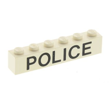 1 x Lego white Brick 1 x 6 with Black 'POLICE' Sans-Serif Pattern Set 6540 4021 6384 3009pb038