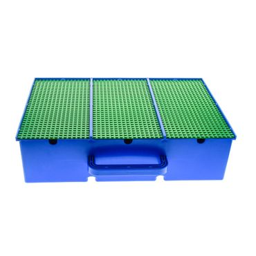 1 x Lego brick blue Storage Bin with Handle and Nine Compartments with green Baseplate Covers 565 4153 3875 6853 2746 2746c01