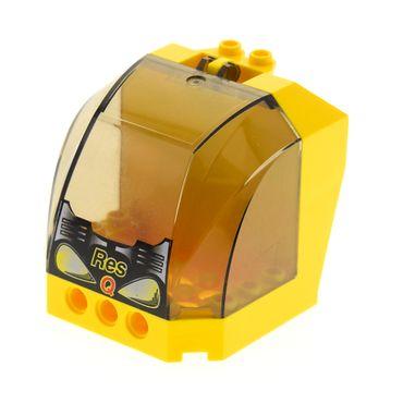1 x Lego System Cockpit gelb 6x6x5 windscreen transparent schwarz 4x6x4 Res-Q Führerhaus Fenster Feuerwehr 30619 30633pb04