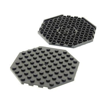 2 x Lego System Bau Platte 10x10 neu-dunkel grau Achteck Ecke mit Loch Oktagon 4583688 89523