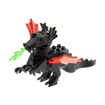 1 x Lego brick Black Dragon Classic Complete Assembly with red Wings 6126 6129c03
