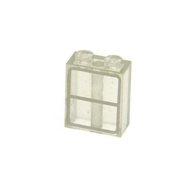 1 x Lego System Fenster transparent weiss 1x2x2  bedruckt 2 Rahmen weiss Zug Eisenbahn Waggon mit Bodenröhre 137 3245apb01