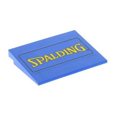 1 x Lego System Dach Stein blau 6x8 10° 6 x 8 Aufkleber Spalding gelb Rampe Schräg Fliese Platte Set 3432 4515pb007