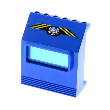 1 x Lego brick blue Panel 3 x 6 x 6 Sloped with Window with Arctic Logo and Yellow Stripes Pattern (Sticker) - Sets 6520 / 6575 x207 30288*