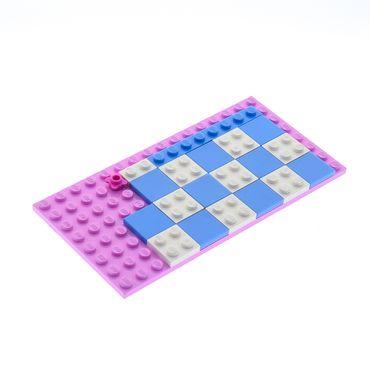 1 x Lego System Bau Platte 8x16 Bright Pink hell rosa 8 x 16 mit Fliesen hell blau 2x2 und Platten weiss 2x2 3315 4610355 92438