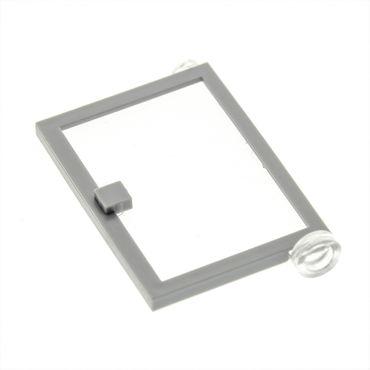 1 x Lego System Tür Blatt neu-hell grau rechts 1x4x5 Scheibe transparent weiss Haustür Tor für Set 10182 10159 10190 4258477 73435c01
